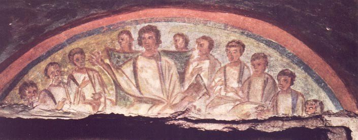 Jesus and the disciples, Domitilla Catacombs, Rome; via Wikimedia Commons